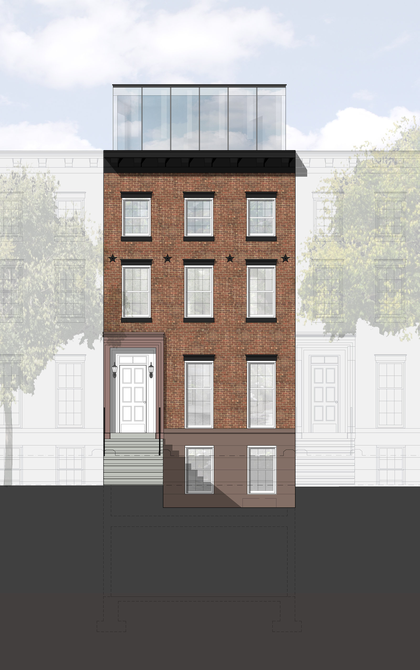 Front elevation rendering with adjacent buildings 1600 xxx q85